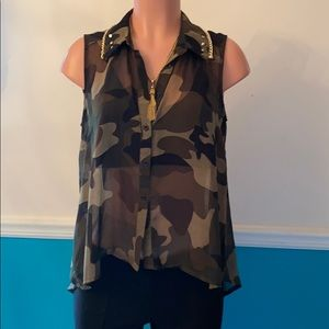 Camo sheer top with gold accents